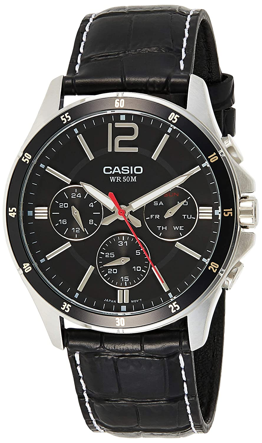 Casio Enticer Chronograph Black Dial Mens Watch MTP 1374L 1AVDF A834